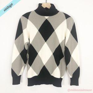 [Neiman Marcus] VTG 80s Diamond Turtleneck Sweater